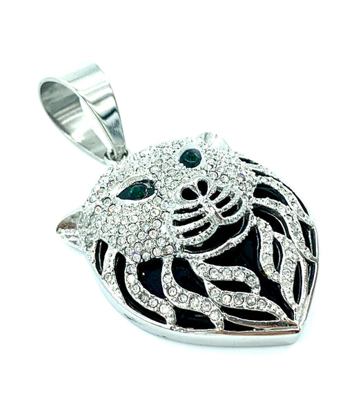 1.7 Inch Long Silver Pendant High Polish Stainless Steel CZ Diamond Men/Women FREE & FAST SHIPPING (US Only)