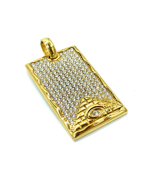 1.7 Inch Long Gold I.D Tag Pendant High Polish Stainless Steel CZ Diamond Men/Women