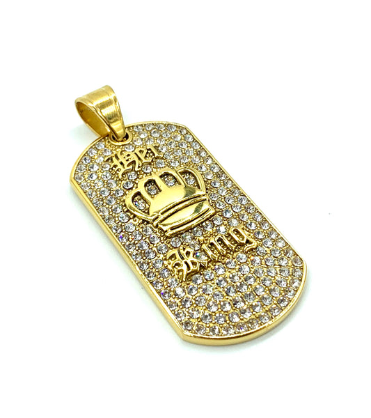 2 Inch Long Gold/Silver I.D Tag Pendant High Polish Stainless Steel CZ Diamond Men/Women