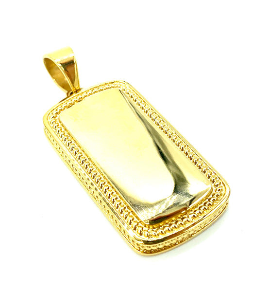 1.8 Inch Long Gold I.D Tag Pendant High Polish Stainless Steel Men/Women
