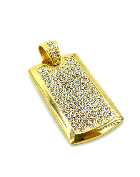 1.6 Inch Long Gold I.D Tag Pendant High Polish Stainless Steel CZ Diamond Men/Women
