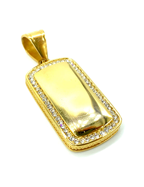 1.2 Inch Long Gold I.D Tag Pendant High Polish Stainless Steel CZ Diamond Men/Women