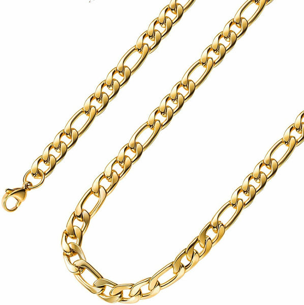 Gold Plated Figaro Chains Necklace 4MM 8.5MM Stainless Steel Figaro Link FREE & FAST SHIPPING (US Only)