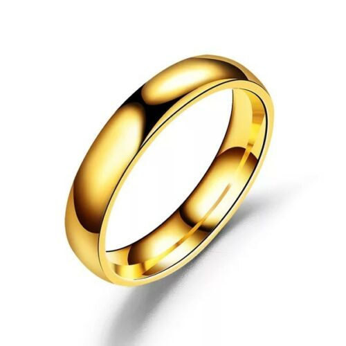 Gold 3mm High Polished Stainless Steel Men/Women Engagement Rings FREE & FAST SHIPPING (US Only)