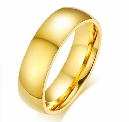 Gold 6mm High Polished Stainless Steel Men's Women's Engagement Rings FREE & FAST SHIPPING (US Only)