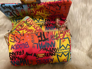 Graffiti Multicolored clutch