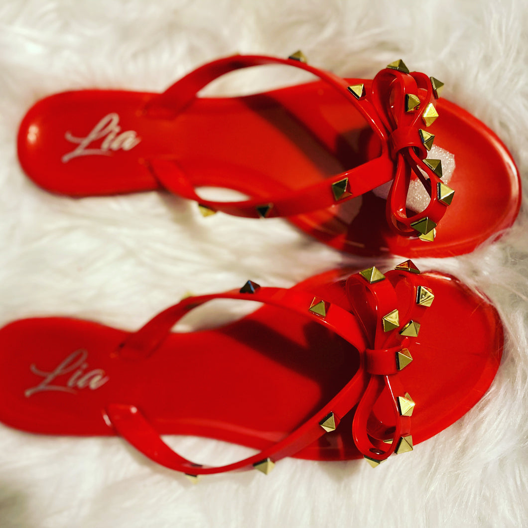 Red stud sandals