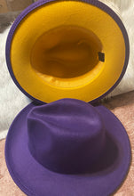 Load image into Gallery viewer, Purple w/yellow bottom fedora