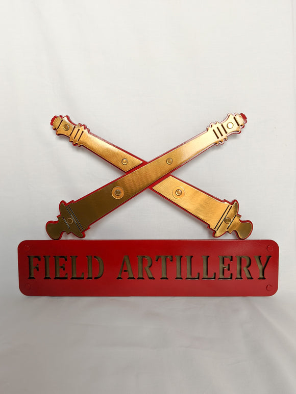 Metal Cross Cannon Hanging Sign with 3D Name Plate and Cannons Customizable