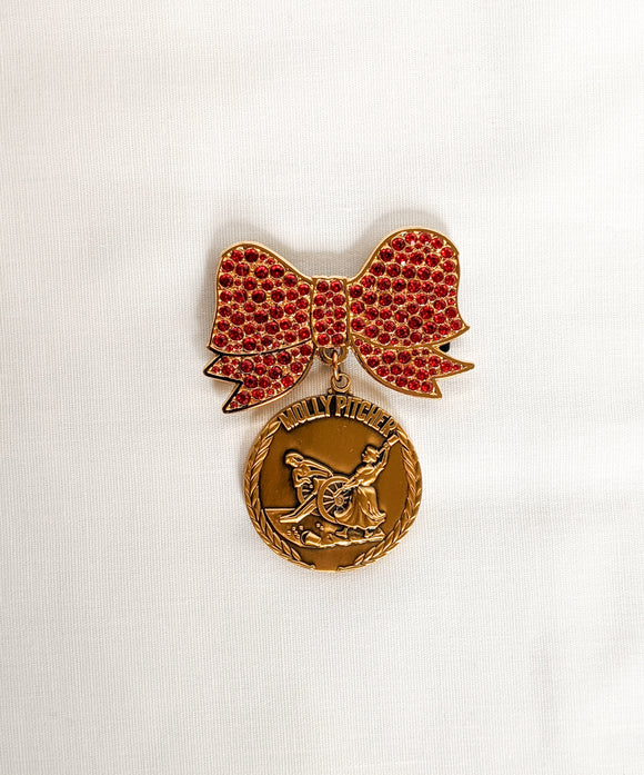Red Rhinestone Molly Pitcher Bow Pin Magnetic (Medal not included)