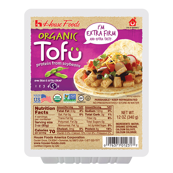 ORGANIC EXTRA FIRM TOFU 12oz PACKAGE (HOUSE)