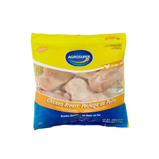 Frozen Chicken Breast Boneless/Skinless IQF 5lbs Bag (Agrosuper)