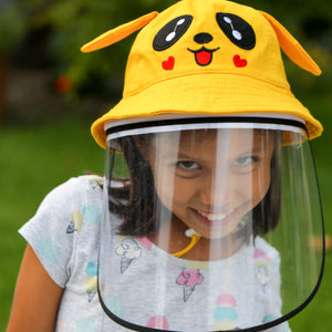 Cute kid in pokemon style hat with removable face shield - The Universal Mask