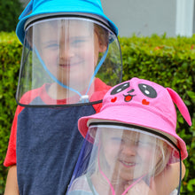 Load image into Gallery viewer, Cute kids wearing sun hat with removable face shield - The Universal Mask
