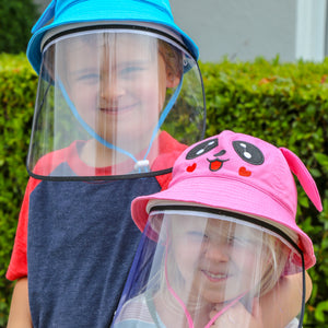 Cute kids wearing sun hat with removable face shield - The Universal Mask