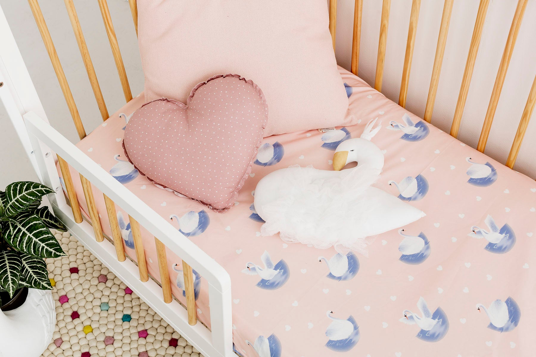Swanning Around Cot Fitted Sheet