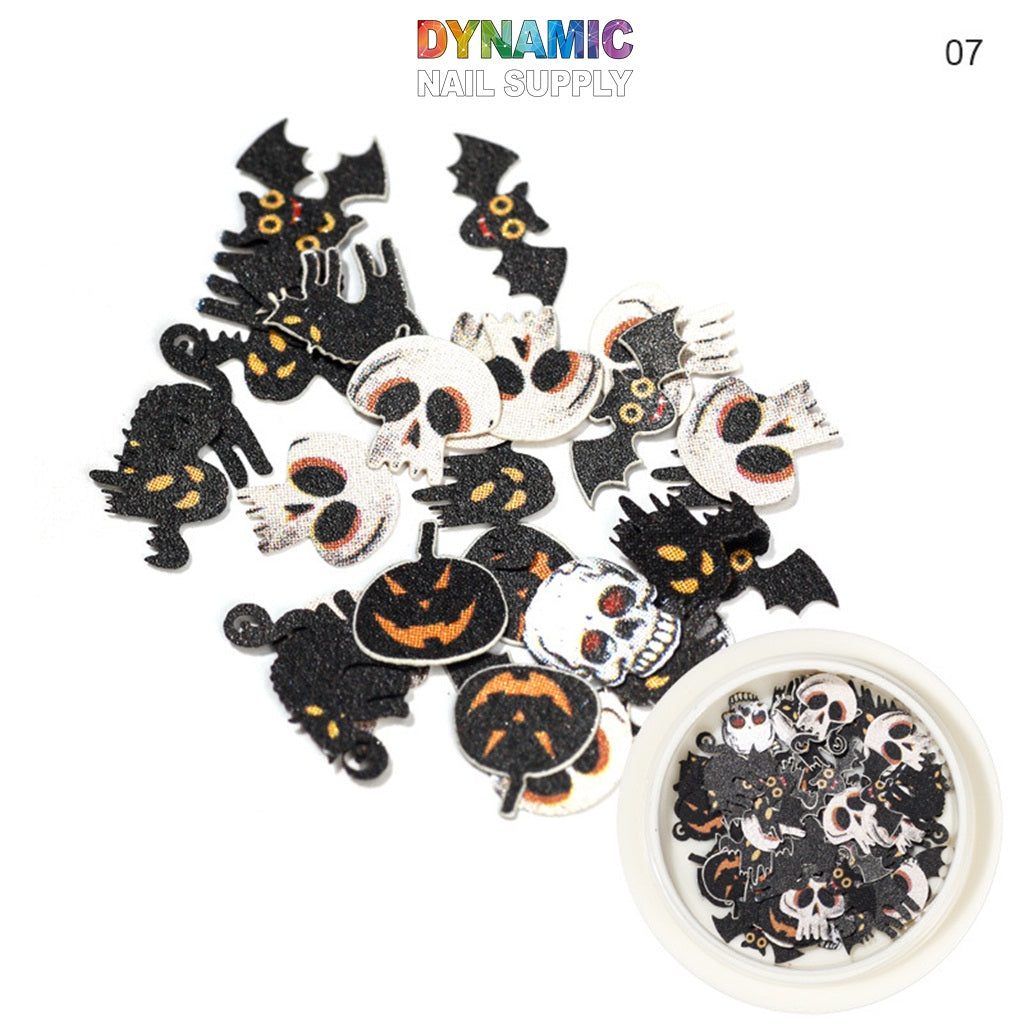 Nail Art Halloween Sticker Nail Designs Skull Pumpkin Ghost Castle Witch Bat 3D Manicure Slice Sequin, Multifunctional Nail Clipper With Silicone Pressure Head