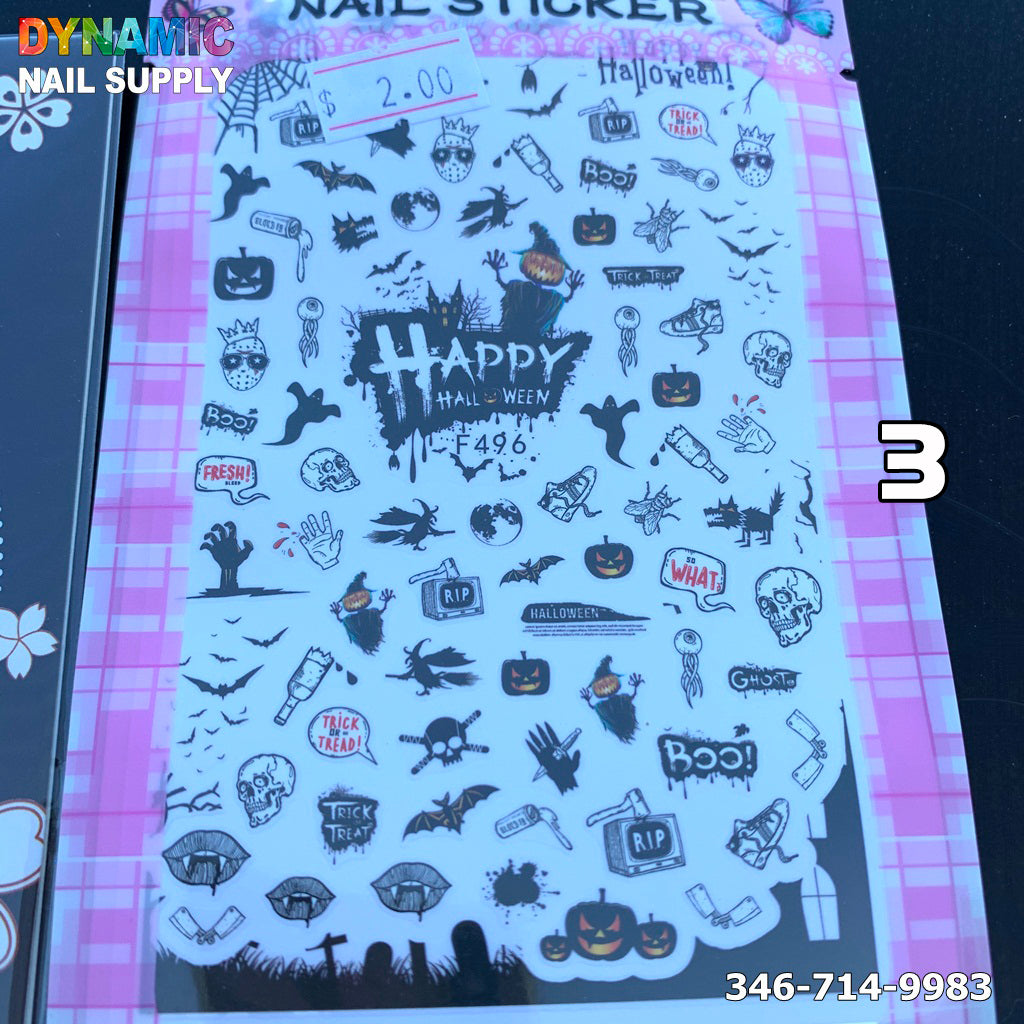 Halloween Nail Art Water Slide Tattoo Stickers Decals Fun and Scary