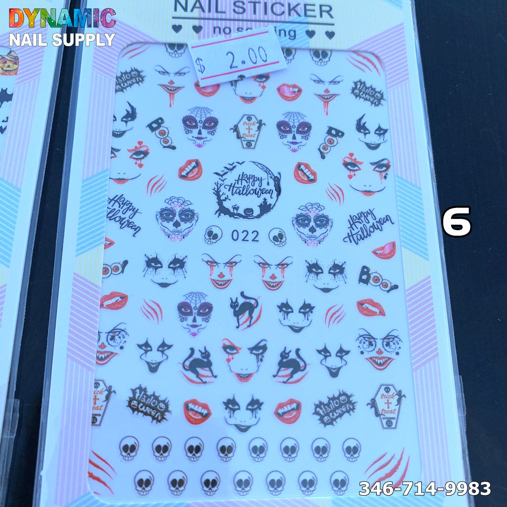 Halloween Nail Art Stickers Nail Stickers Day of the Dead Nail Art Accessories Pumpkin Spider Skull Ghost Witch Bat Nail Design for Halloween Party Supplies Manicure Charms