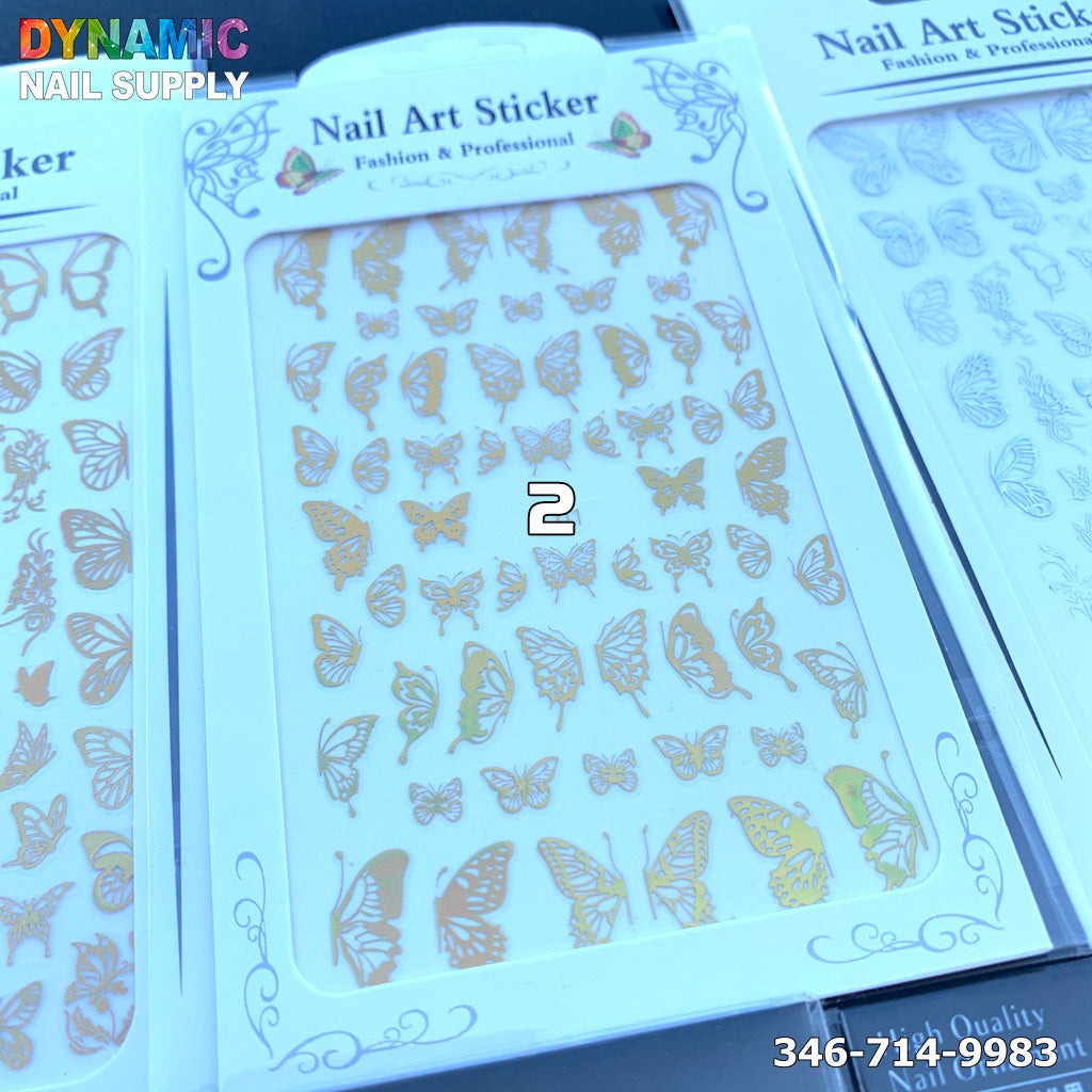 Holographic Butterfly Nail Art Sticker Gold Butterfly Nail Decals Gummed Laser Butterflies Nail Adhesive Stickers Holographic Gold Butterfly Nail Art Decor Butterfly Manicure