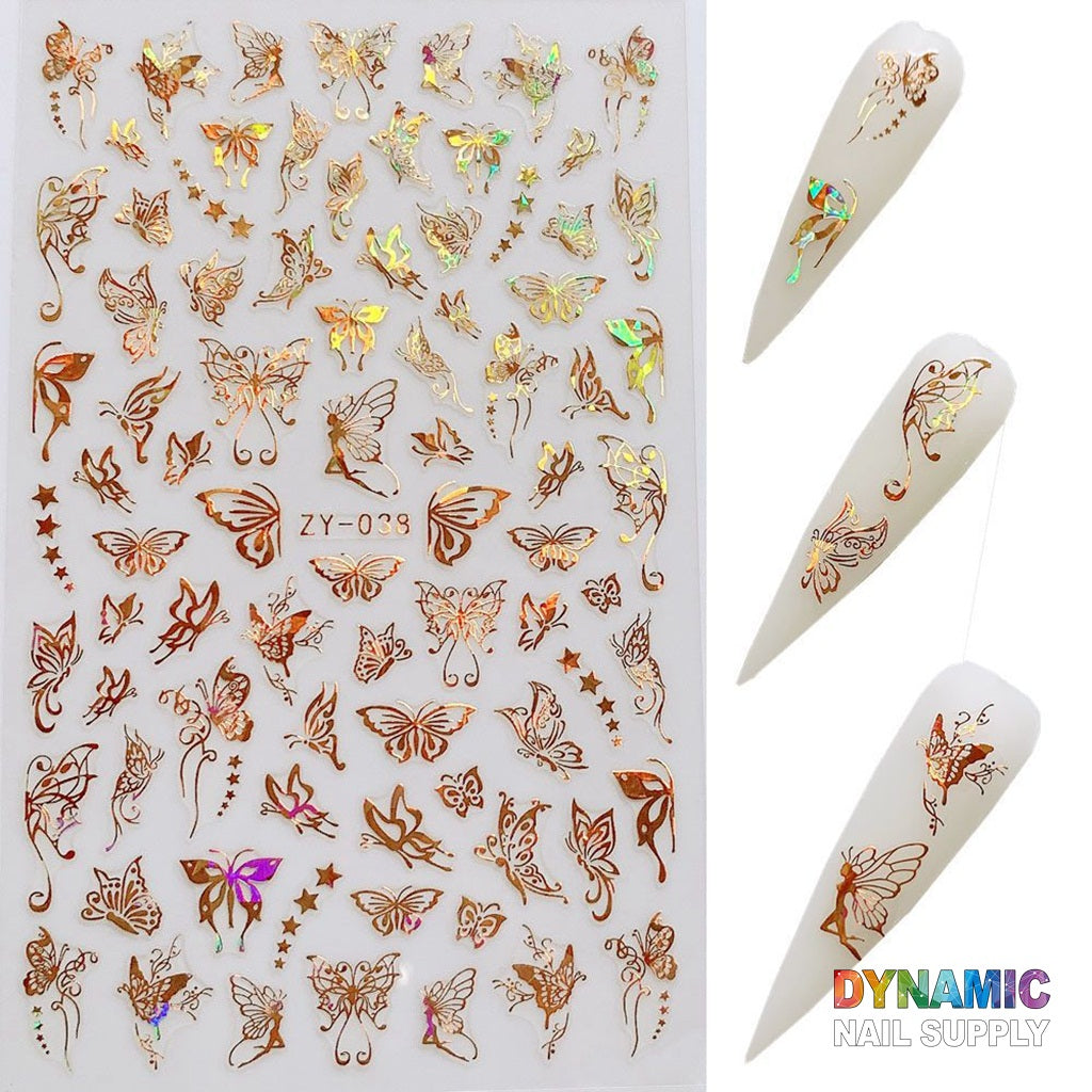 3D Nail Art Metallic Gold Butterfly Design Water Transfer Nail Stickers