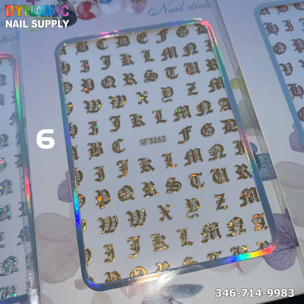 Russia Letters Words Numbers Old English Alphabet Nail Art Stickers Decals For Crafts Scrapbooking Nail Art