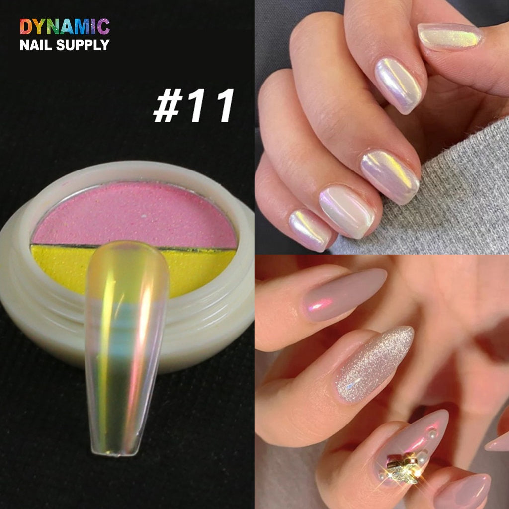 24 Colors Jelly Neon Rainbow Holographic Chameleon Powder Multi Chrome Nails Power Aurora Effect Pigment Iridescent Glitter Pearlescent Nail Art Glitter