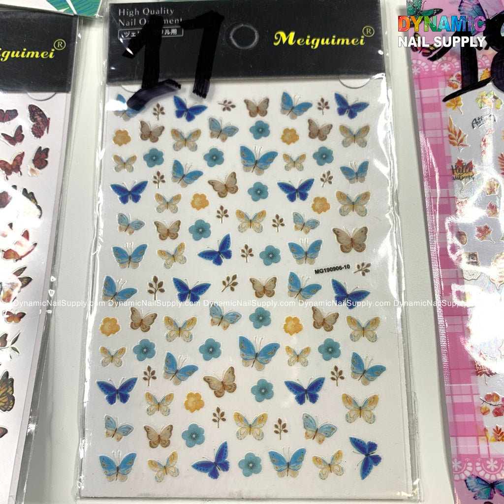 218/5000 Butterfly 3D Nail Art Stickers Flowers Butterflies Supplies Nail Art Stickers Butterfly Self-Adhesive Nails Supply Foils Nail Art Design Acrylic Nails Accessories Manicure Tips Charms (4 Sheets)