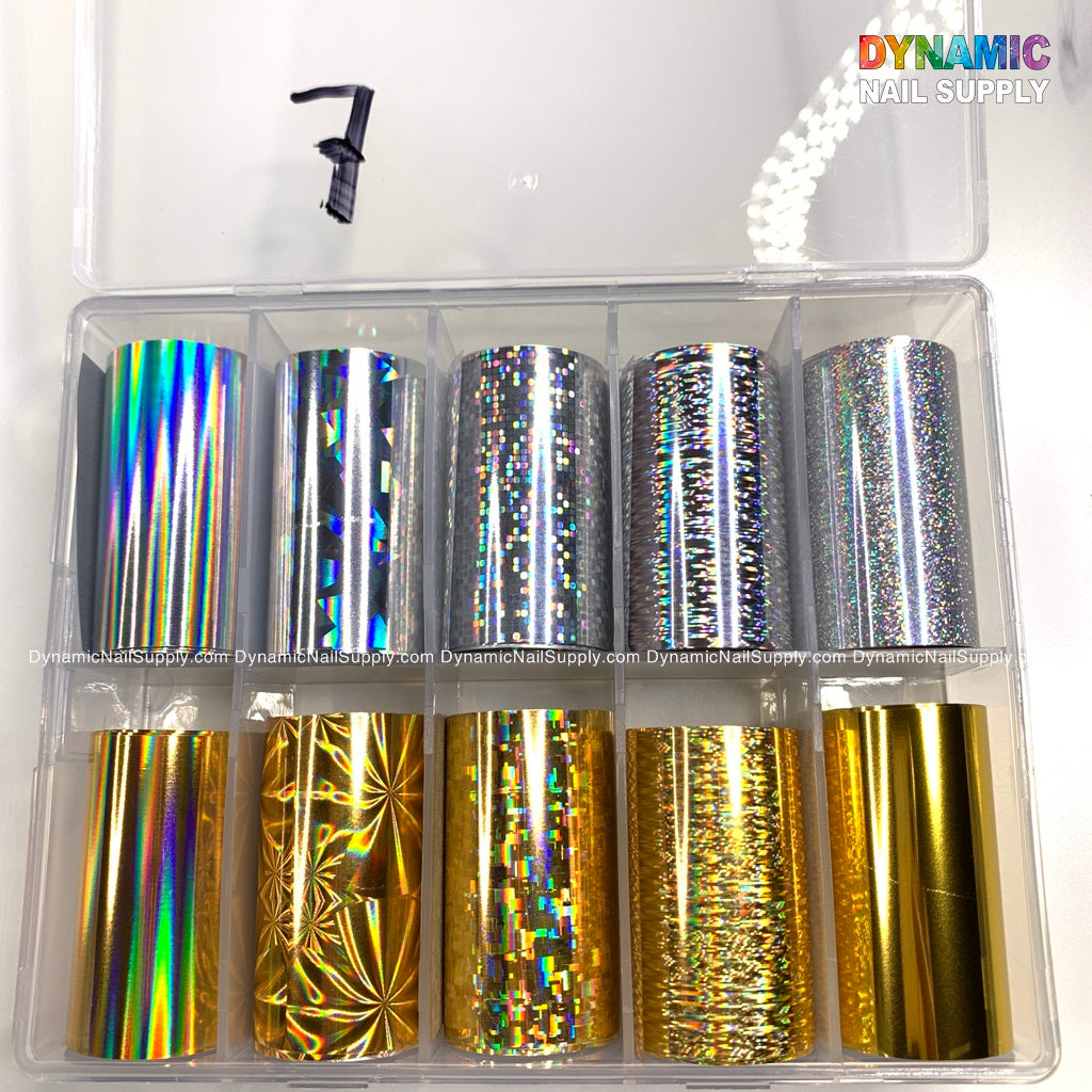 Holographic Design Nail Art Stickers Tips Wraps Foil Transfer Adhesive Glitter Acrylic DIY Nail Decoration
