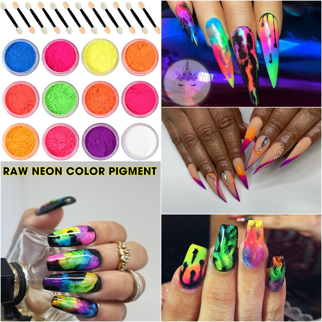 Raw Neon Color Pigment - 12 jars - for Nails design or Eye shadow