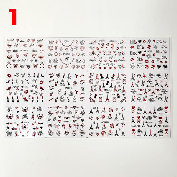 Valentines stickers (12 styles/per sheet) for nails art design - (shapes: diamond, jewelry, heart, Eiffel Tower, lips)
