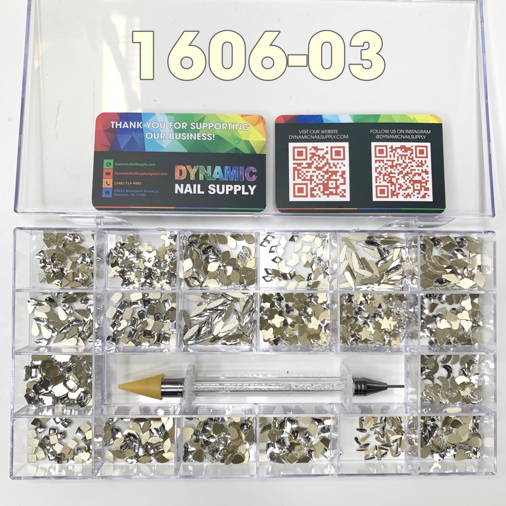 SKU: [1606-03] 1000 pcs Platinum Crystal Rhinestones - 20 Shapes x 50pcs each  - for nails art design