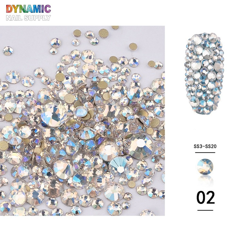 NEW Colors - Flatback Nail Art Crystal Rhinestones - Mixed Size Rhinestones for Nails design & Decorations - Dynamic Nail Supply