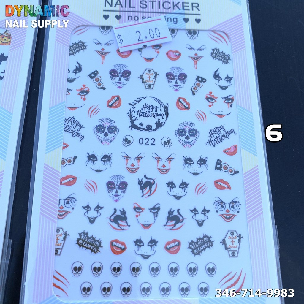 Halloween Nail Art Stickers – DIY Nail Decal Template with Water Transfer for Halloween Party