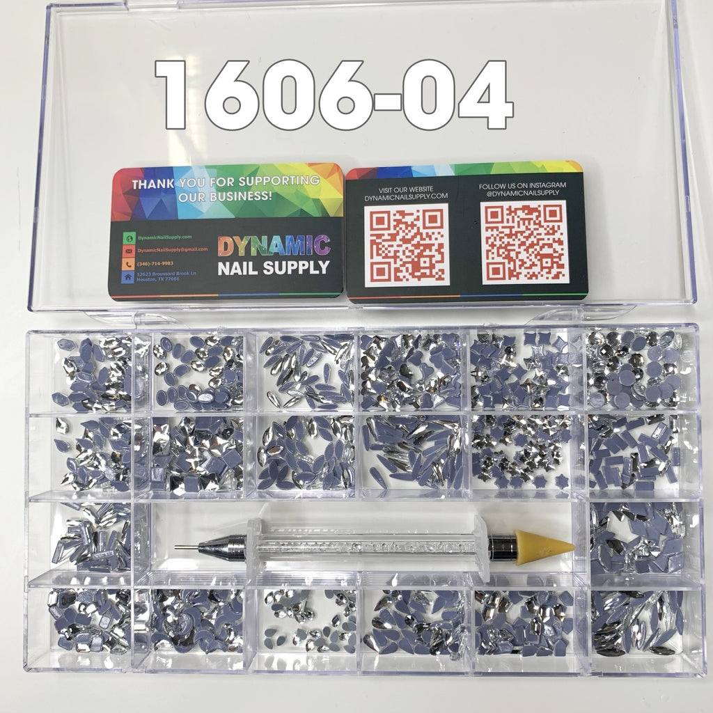 Dynamic Nail Supply SKU: [1606-04] 1000 pcs Silver Crystal Rhinestones - 20 Shapes x 50pcs each - for nails art design