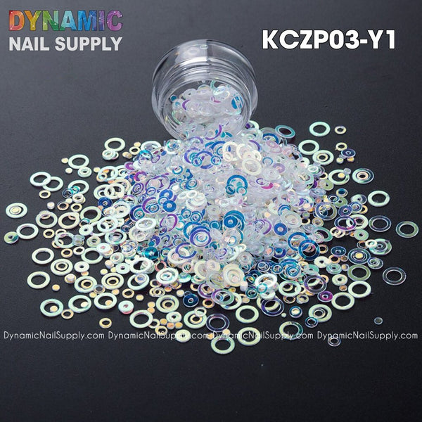 KCK 1300 Ring Circle Dot Mix Sequins nails art glitter - Dynamic Nail Supply