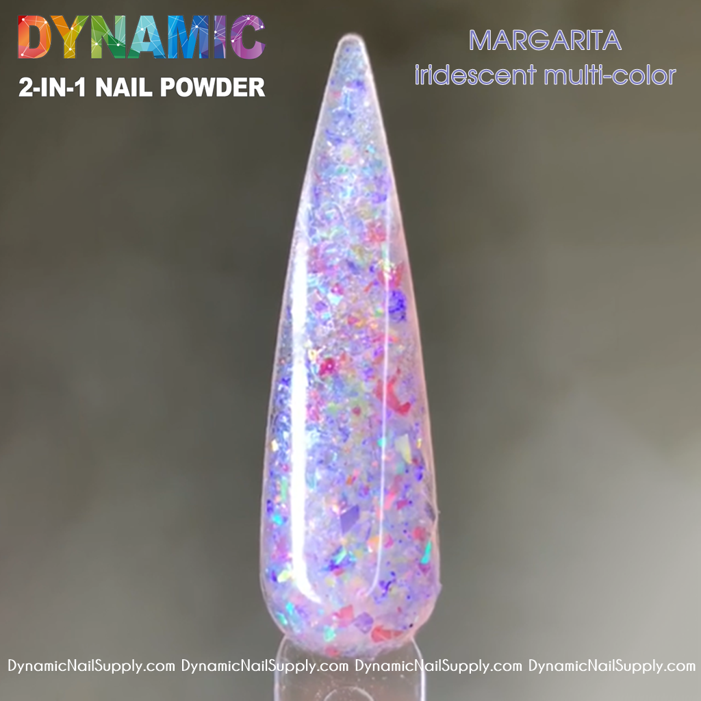 MARGARITA iridescent multi-color mixed glitter acrylic powder for sculpting and dipping nails - Dynamic Nail Supply