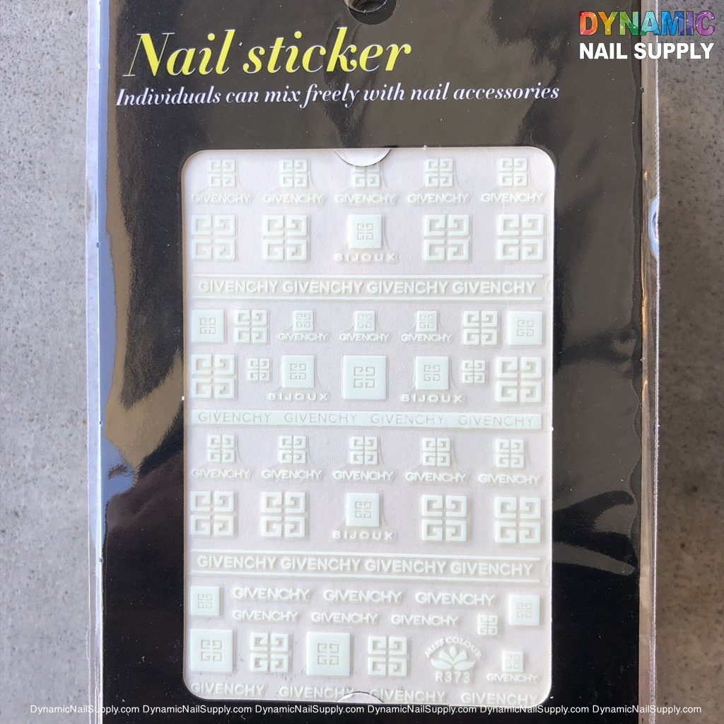NAIL ART STICKERS - BRAND LOGO STICKERS - GIVENCHY - BIJOUX - R373 - WHITE