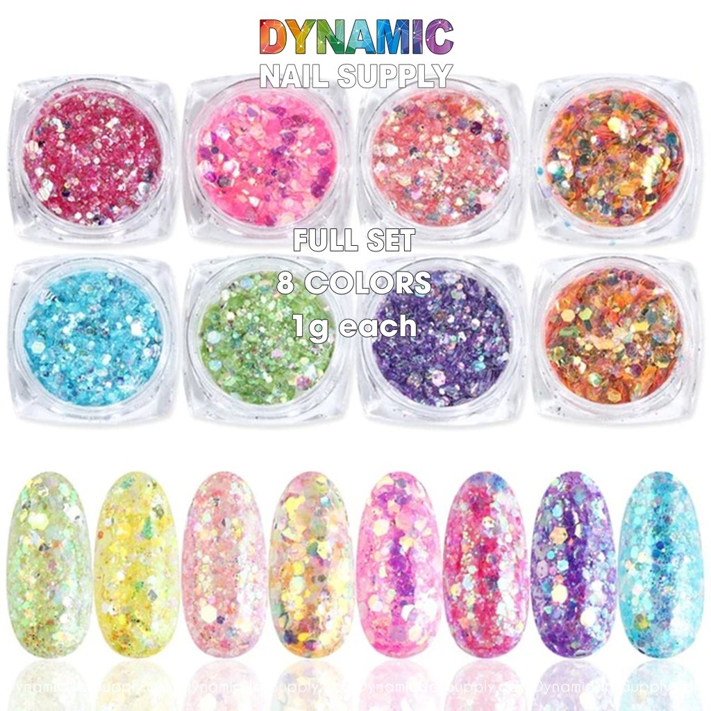 QH15060 SET 02 Holographic Nail Art Glitter Set Powder