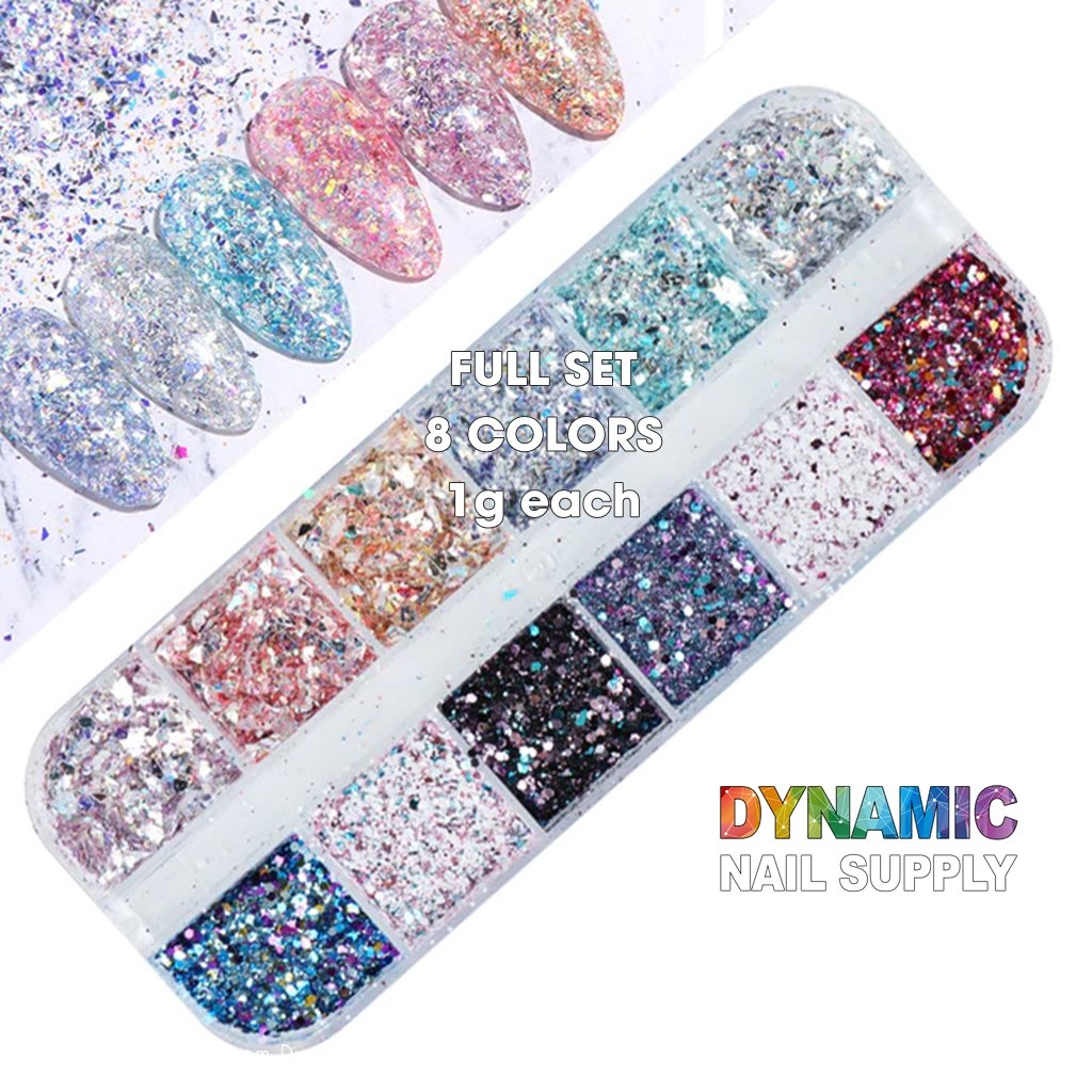 QH15060 SET 08 Holographic Nail Art Glitter Set Powder - Dynamic Nail Supply
