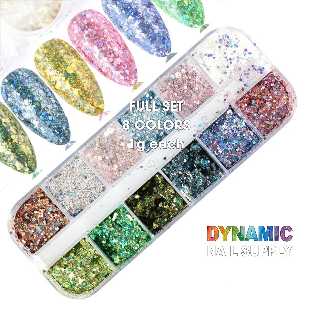 QH15060 SET 11 Holographic Nail Art Glitter Set Powder - Dynamic Nail Supply