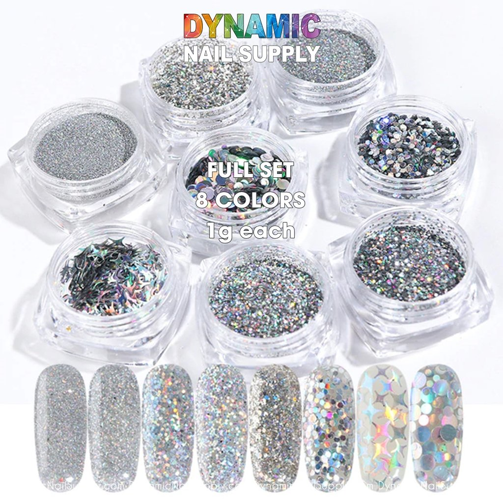QH15060 SET 16 Holographic Nail Art Glitter Set Powder - Dynamic Nail Supply