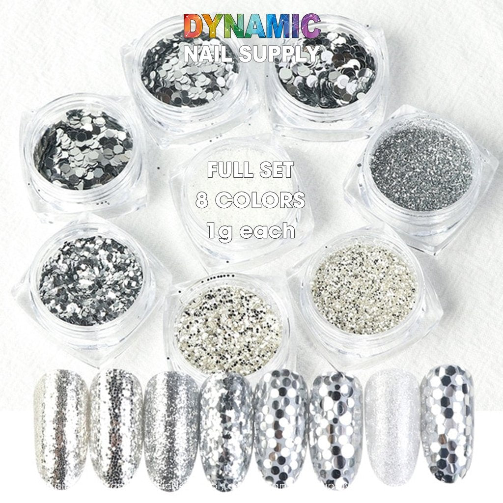 QH15060 SET 20 Holographic Nail Art Glitter Set Powder - Dynamic Nail Supply