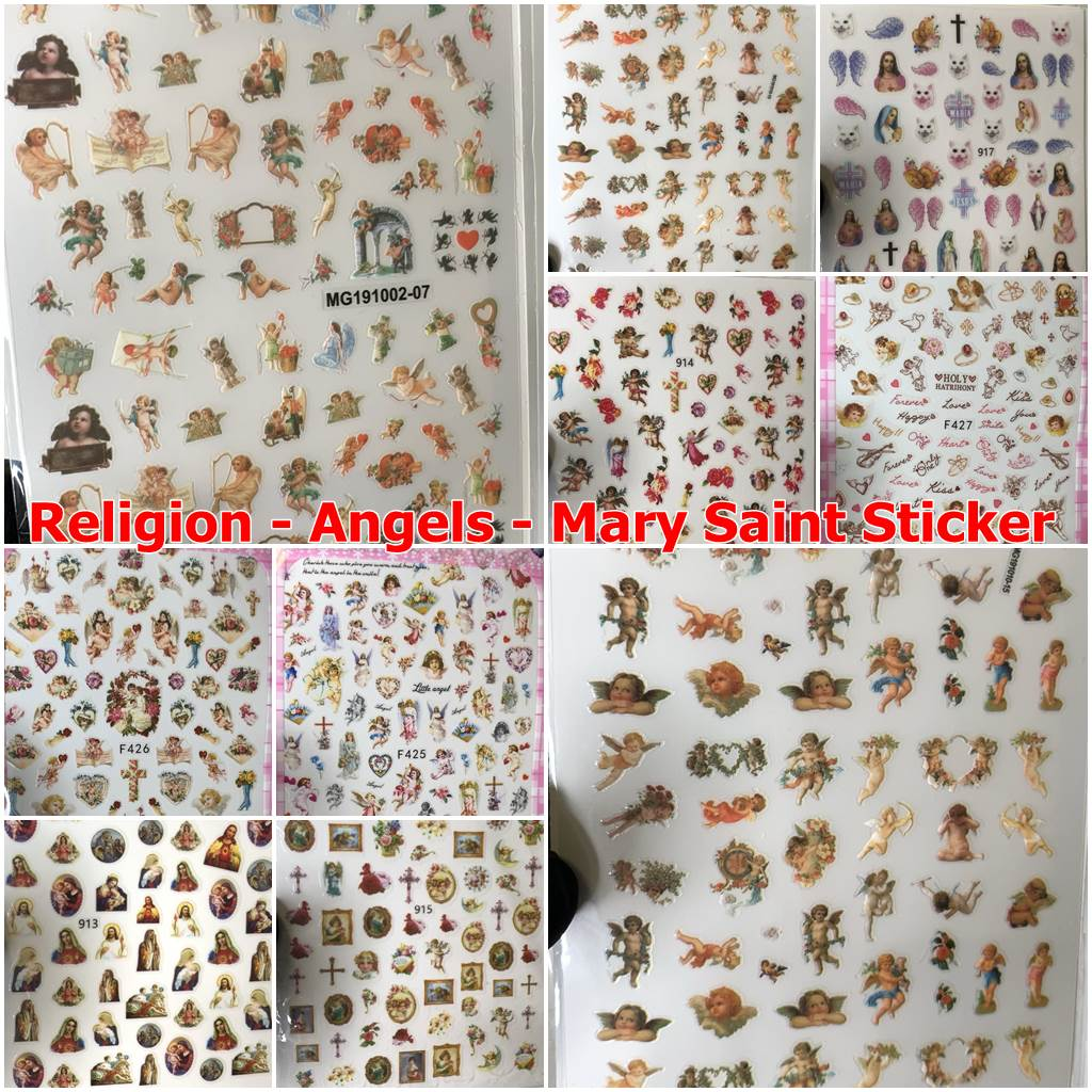Religion Stickers - Angels - Mary Saint Sticker for nail art design
