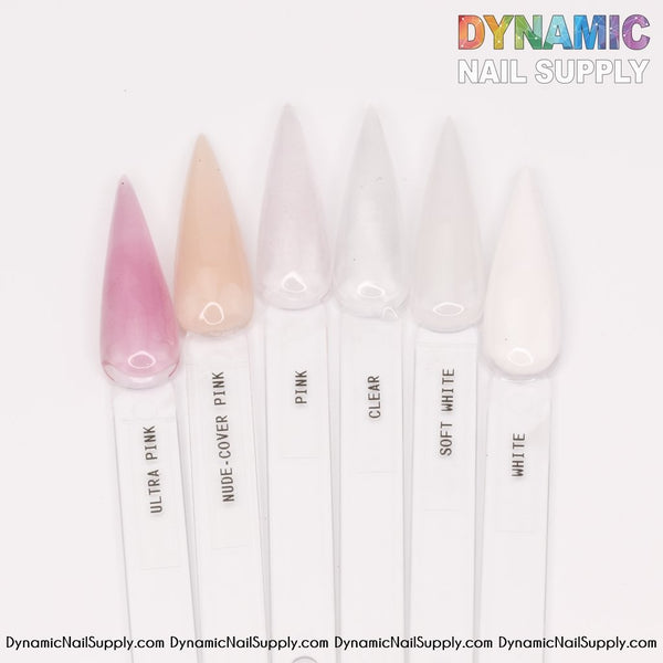 Clear / White / Soft White - purified acrylic powder for dipping and sculpting - Dynamic Nail Supply