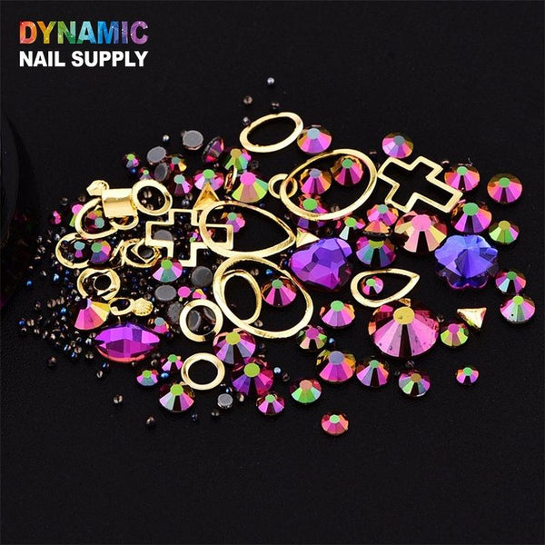 Fairy beads + Gemstone Ring mixed with random shape Rhinestones - 12 options - Dynamic Nail Supply