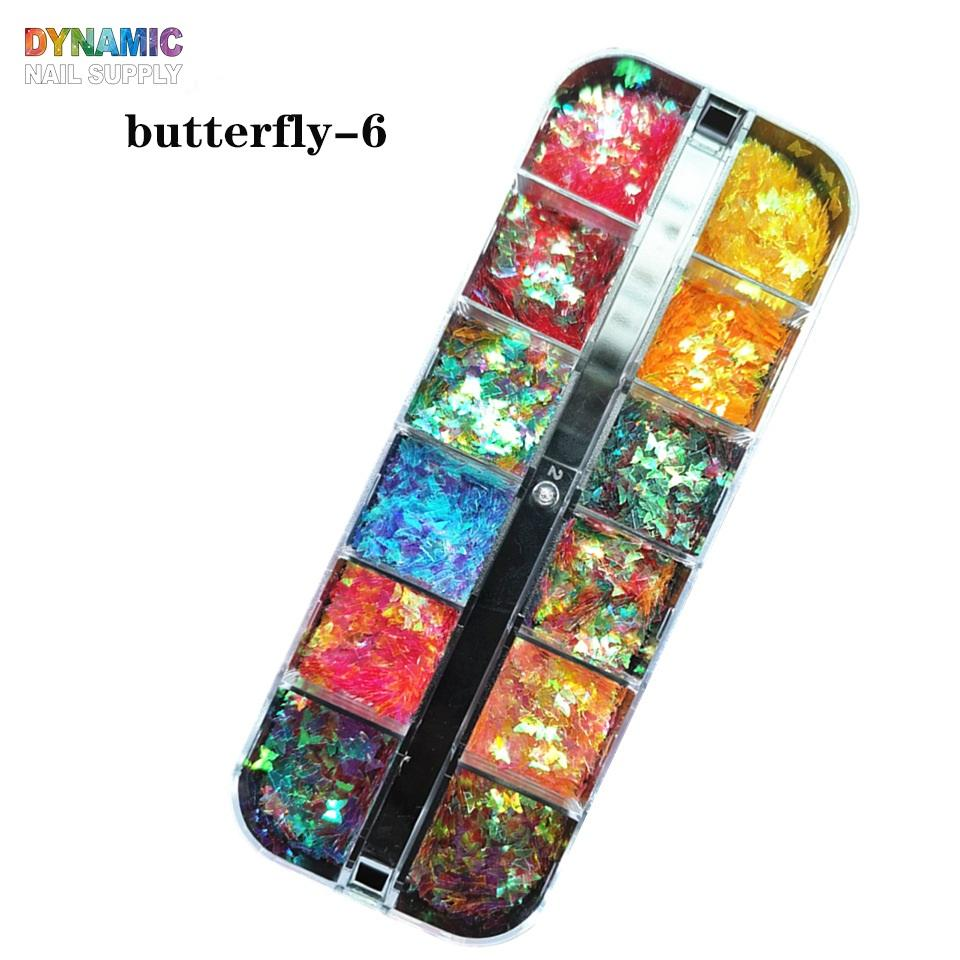 12 Colorful Butterfly Nail Glitter Sequins, Holographic Nail Glitter Sparkle For Nail Art Decoration