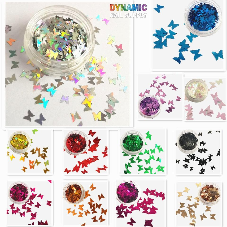 Butterfly Nail Glitter Sequin Box with 12 Colors for Nail Art Decorations, Crafts and Nail Beauty Makeup