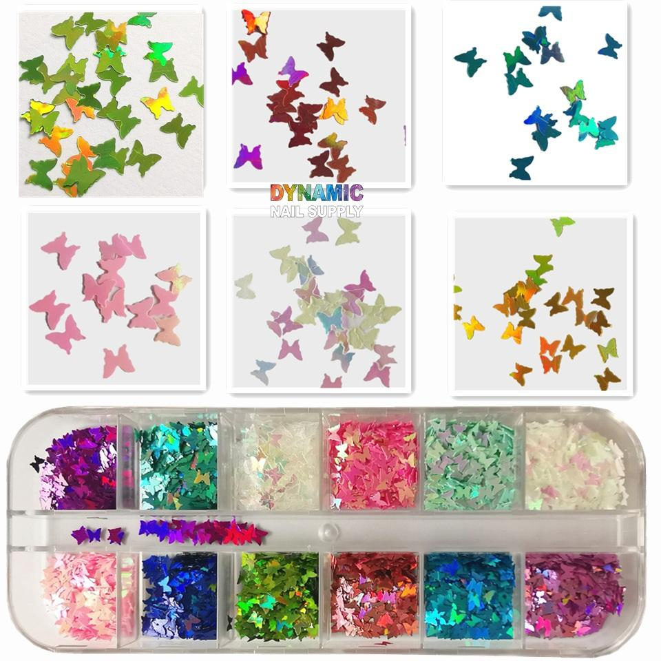 12 Grids 3D Butterfly Nail Art Glitter Sequins, Shiny Color Butterfly Sequins Acrylic Sequins, Holographic Glitter Nail Sheets, Nail Art Tips