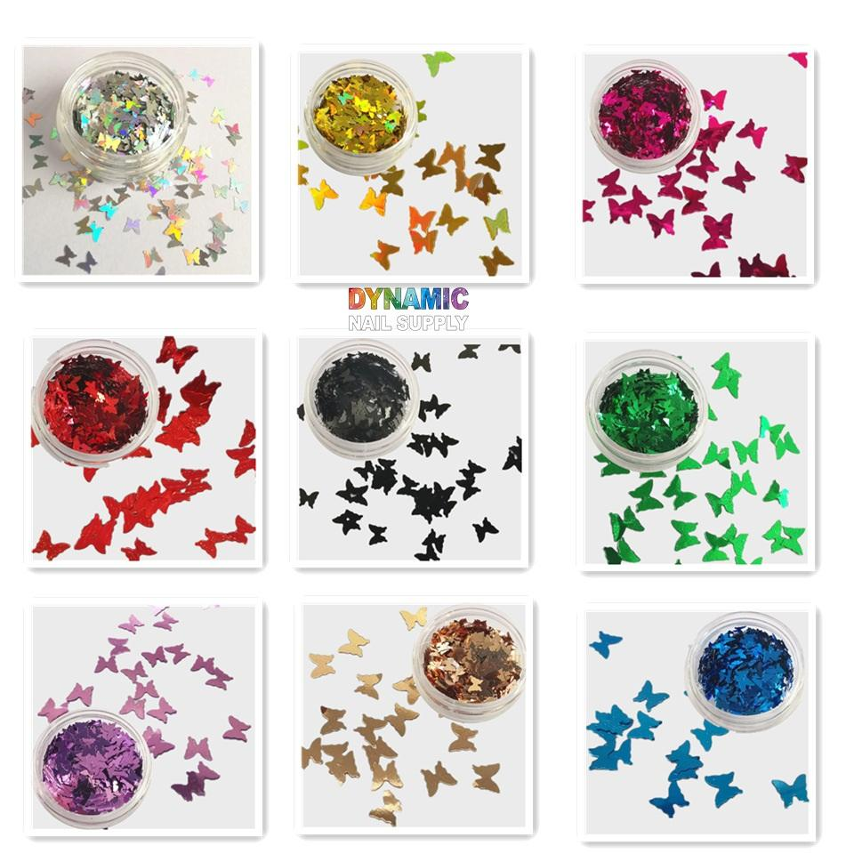 12 Colors 3D Holographic Butterfly Nail Glitter